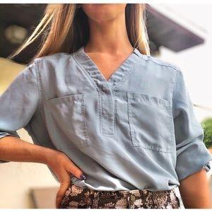 Nine West Pastel Blue Blouse Long Sleeve